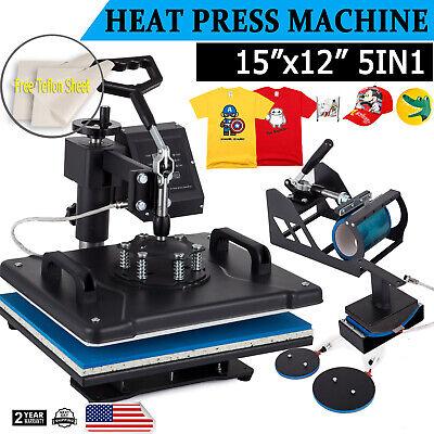 5 In 1 Heat Press Machine Digital Transfer Sublimation Plate T-shirt Mug 12x15