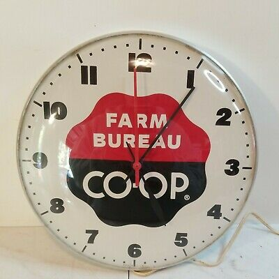 "Vintage Farm Bureau CO-OP Glass Dome 12"" Electric Wall Clock"