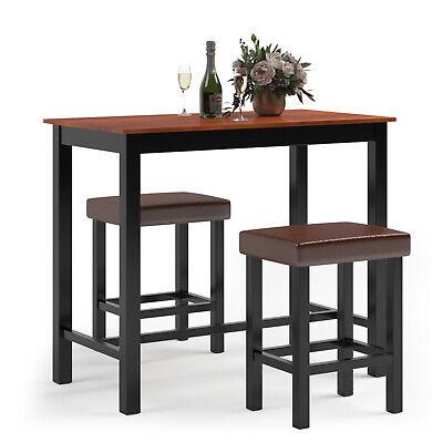 3PC Pub Table Set Wood Dining Bar Table Stool Set Kitchen Counter Furniture -