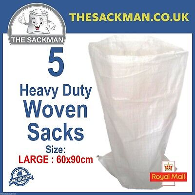 5 Woven Sacks Heavy Duty Large Size 60cm x 90cms Woven PP Builders Strong Bags