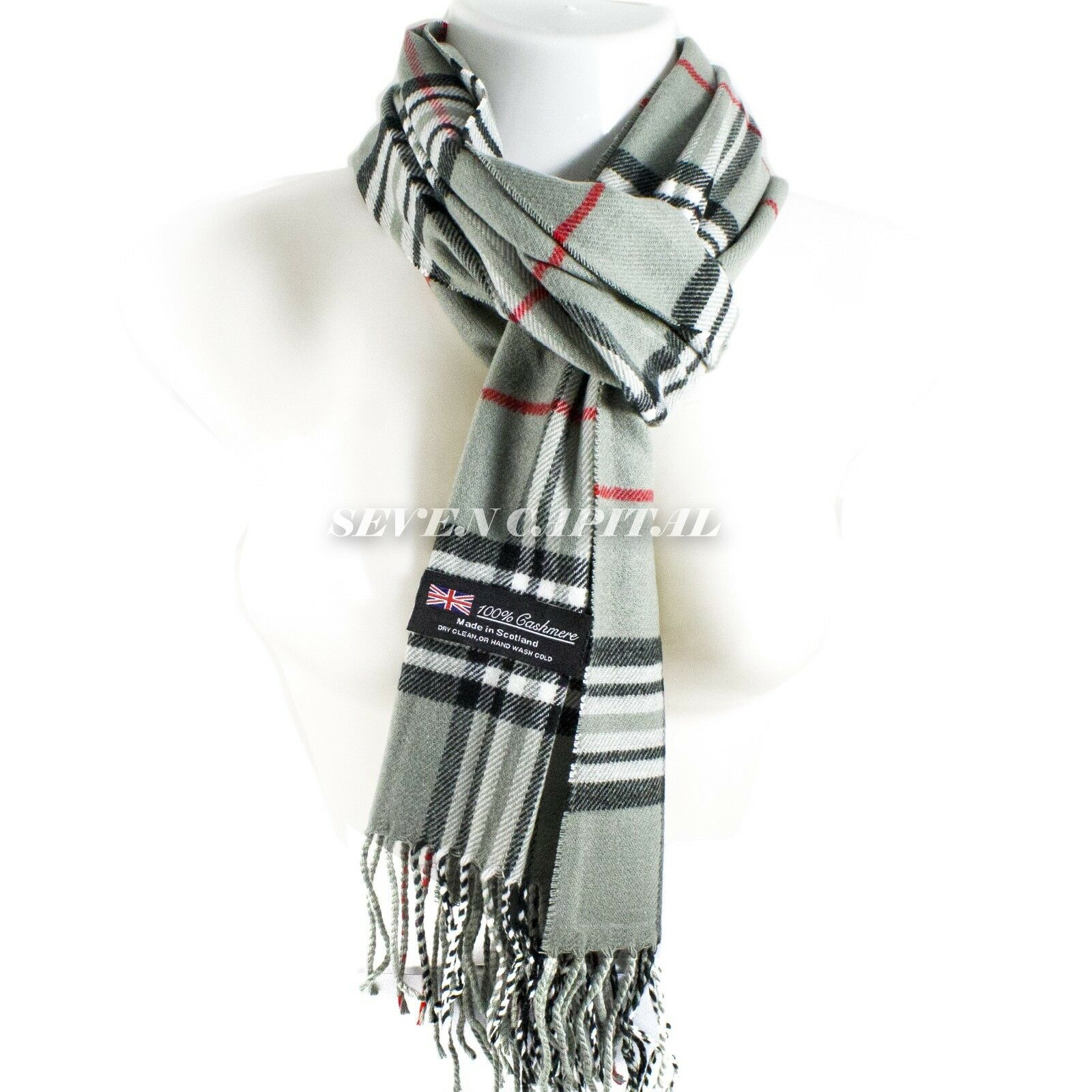 Mens Womens Winter Warm SCOTLAND Made 100% CASHMERE Scarf Scarves Plaid Wool 10. Plaid: Olive Green/White/Black