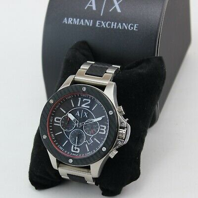 NEW AUTHENTIC ARMANI EXCHANGE WELLWORN CHRONOGRAPH SILVER BLACK MEN AX1521 WATCH