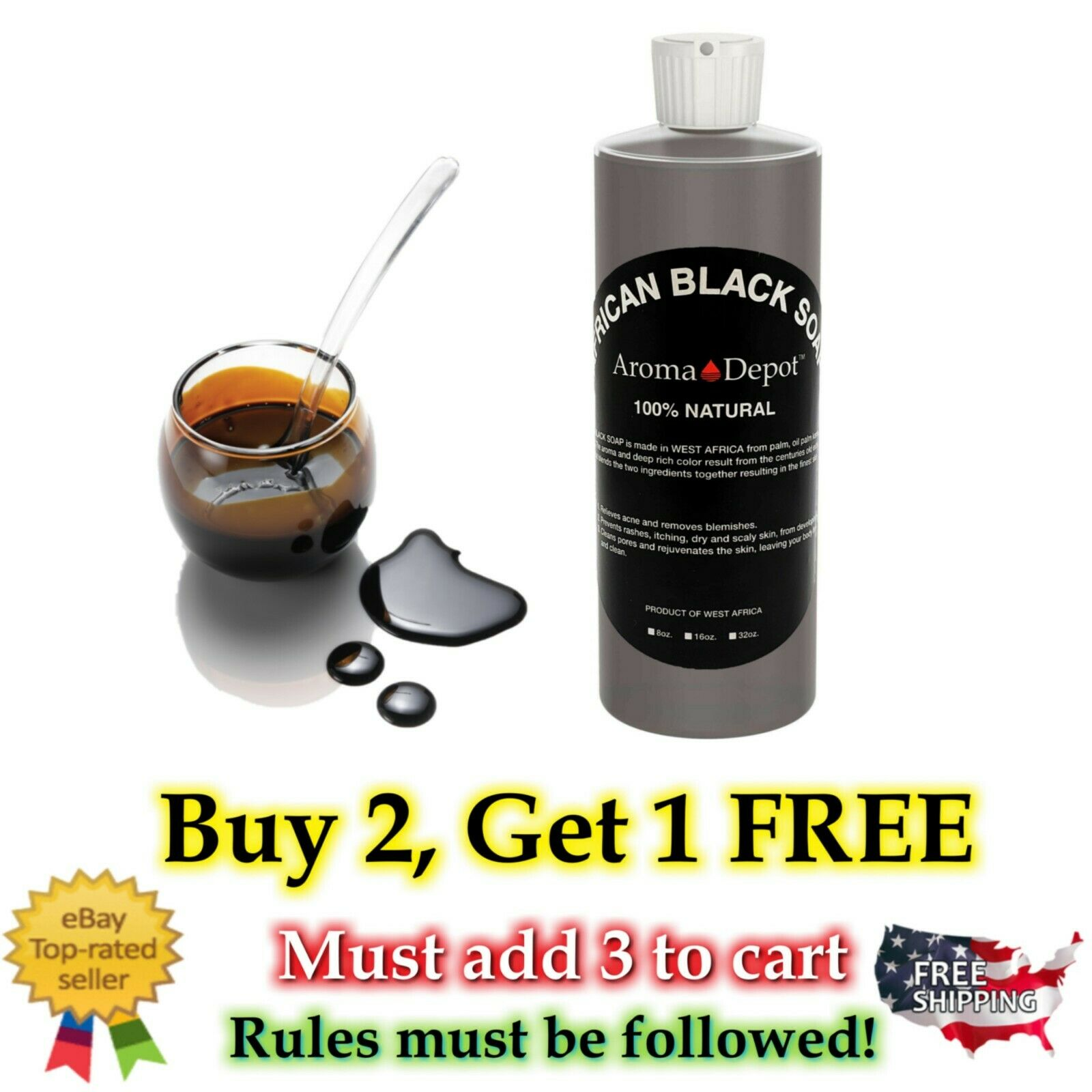 8 oz Liquid African Black Soap 100% Pure Authentic Raw From