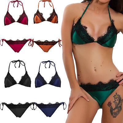 Bikini donna costume da bagno mare imbottito PIZZO due pezzi sexy DY81091