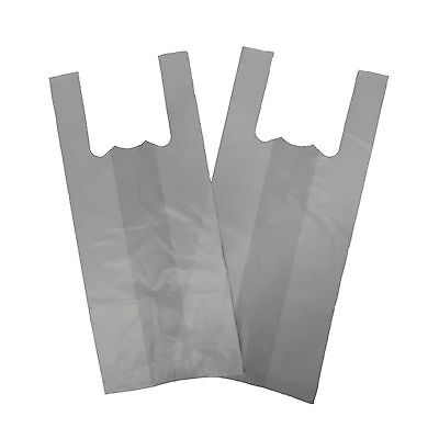 Large Med White 10''x15''x18'' Vest T-Shirt Carrier Bags 12mu x 20 Pack of 100