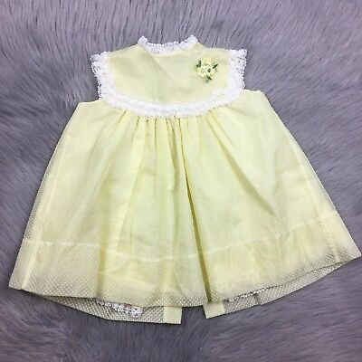 Vintage Toddler Girls Bryan Yellow Sheer Swiss Dot Lace Floral Sleeveless Dress