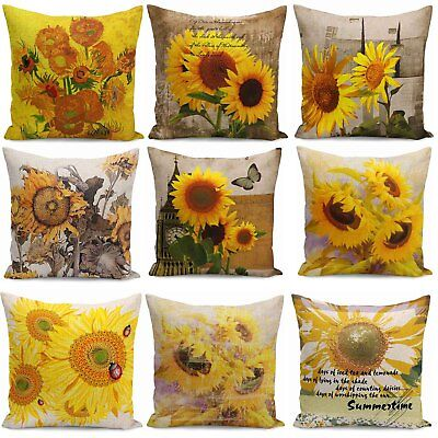 Sunflower Oil China - Oil painting sunflower Throw Pillow Case Cotton Linen Cushion Covers Decorative