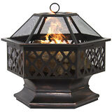 BCP Hex Shaped Fire Pit Outdoor Home Garden Backyard Firepit Bowl Fireplace