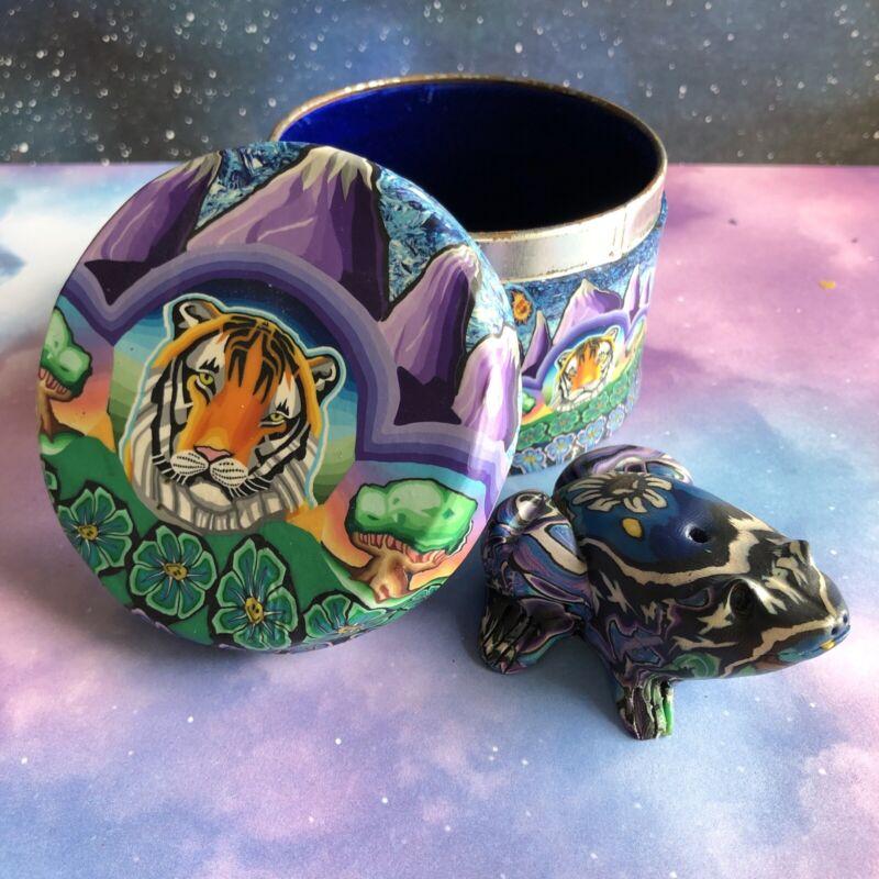 Tiger and Frog Fimo Clay Bundle ~ Keepsake Box ~ Incense Holder ~ Vintage Cool