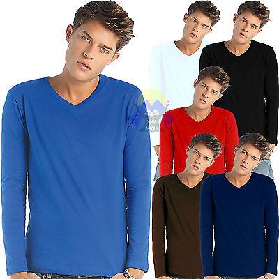 T-shirt da Uomo con SCOLLO a V Maniche Lunghe B&C Iggy Classic Maglietta MAGLIA