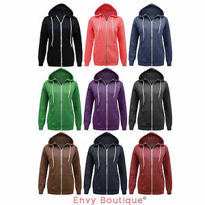 NEW-LADIES-HOODED-PLAIN-ZIP-SWEATSHIRT-FLEECE-HOODIE-WOMENS-JACKET-SIZE-6-14