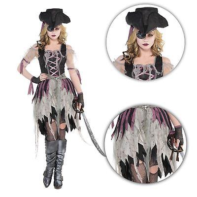Erwachsene Damen Sexy Gejagter Zombie Piratenbraut Mädchen Halloween Kostüm mit