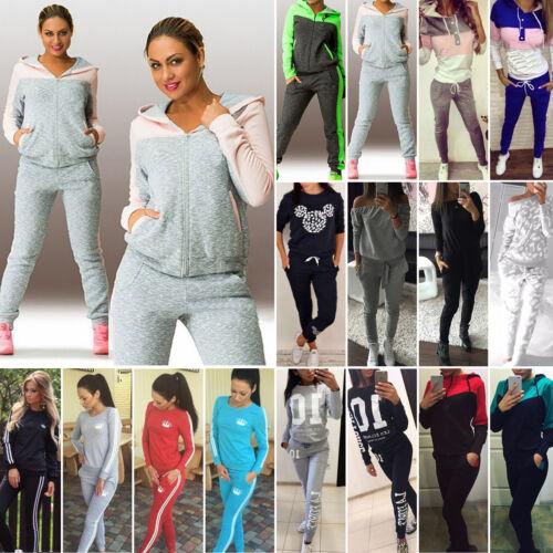 2 Pz Donna Tuta Felpa Pantaloni Tuta Casual Jogging Abbigliamento Sportivo Tuta