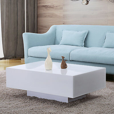 - 33'' Modern High Gloss White Coffee Table Side End Table Living Room Furniture