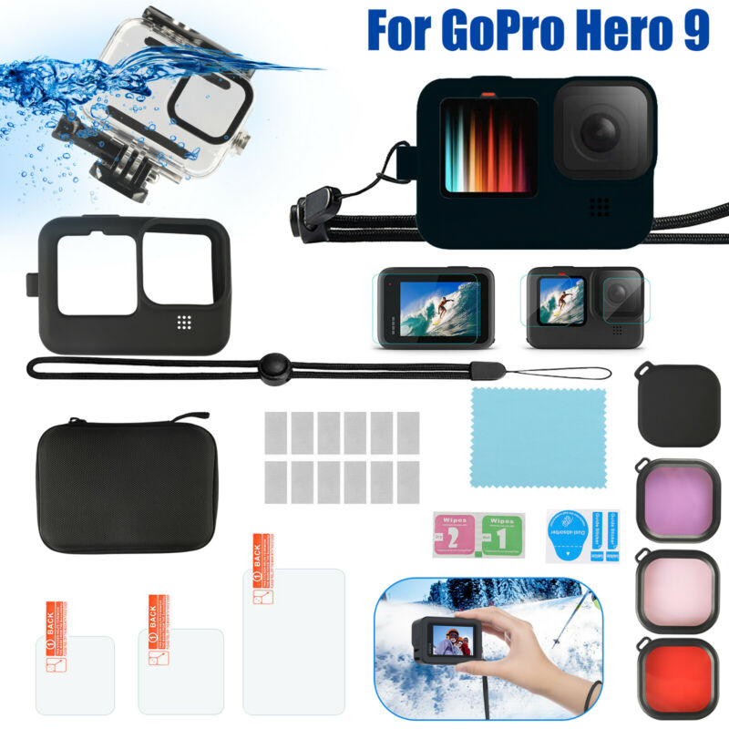 for GoPro Hero 9 Camera Waterproof Housing Case Kit Diving Filters Accessories
