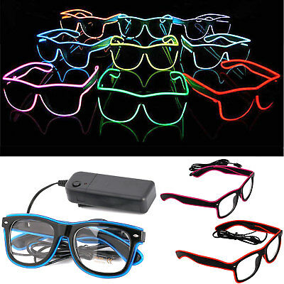LED EL Wire Glasses Light Up Glow Sunglasses Eyewear Shades for Nightclub Party](Light Up Led Glasses)