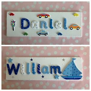 Wooden Name Plaque Door Wall Children Boys Bedroom New Baby Nursery Personalised Ebay