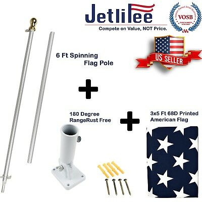 6 Ft Tangle Free Spinning Flagpole with Adjustable Wall Mount 3x5 ft U.S Flag