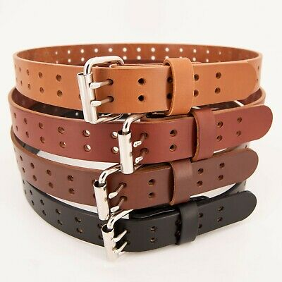 Men's Double Prong Full Grain Heavy-Duty Leather Belt 2 Hole - USA Made By Amish](Amish Man)