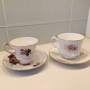 2 English Tea Cups and Saucers