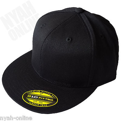 NEW 'BLACK' FITTED CAP PREMIUM HIP HOP SNAPBACK BASEBALL ERA PLAIN FLAT PEAK HAT