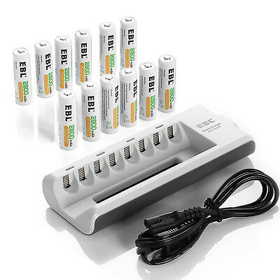 12x EBL 2800mAh NiMH AA Rechargeable Batteries + 8Channel AA AAA Battery Charger