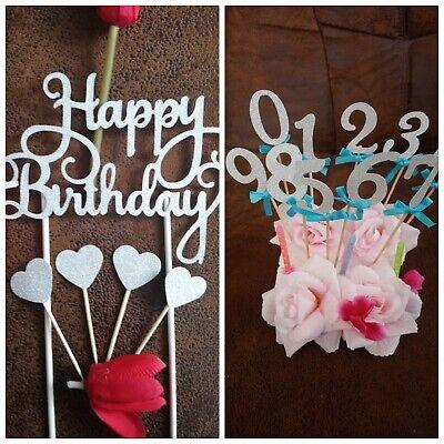 7 Teilig Happy 1 Birthday Cake Topper Geburtstags Torten Stecker 2xZahlen,4xHerz