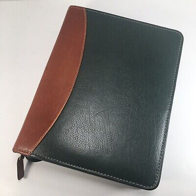 Franklin Covey Quest Classic Size Hunter Green Tan Leather Zipper Planner