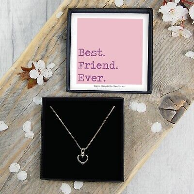 REAL Silver Heart Necklace Best Friend Jewellery Gift Box Birthday Present