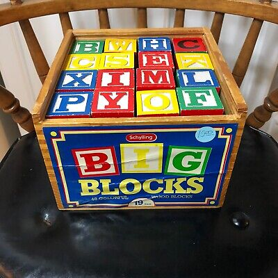 VINTAGE 2001 SCHYLLING 48 COLORFUL WOODEN ALPHABET BLOCKS IN WOODEN BOX