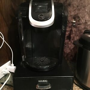 Keurig with Carafe and coffee pod tray underneath