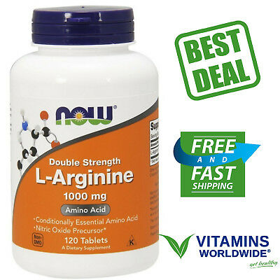 NOW FOODS L-ARGININE 1000 Mg Amino Acid Nitric Oxide Double Strength 120 Tablets for sale  USA