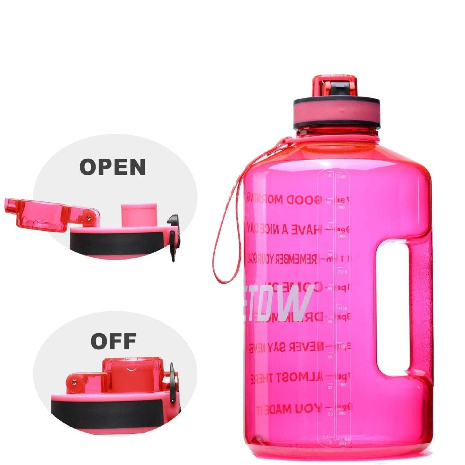128oz/1 Gallon Water Bottle with Time Marker, Straw & Handle