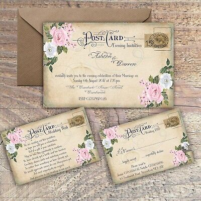 PERSONALISED VINTAGE POSTCARD PINK & GREY FLORAL WEDDING INVITATIONS PACKS OF 10