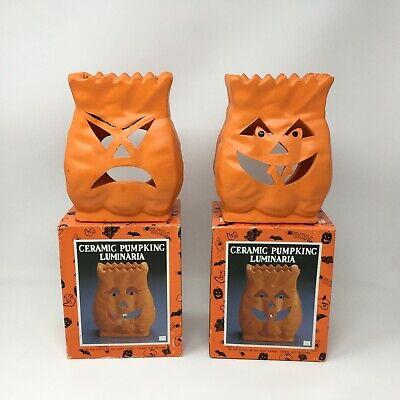(2) Vintage Halloween Ceramic Pumpking Luminaria Pumpkin 1992 Fabri-Centers