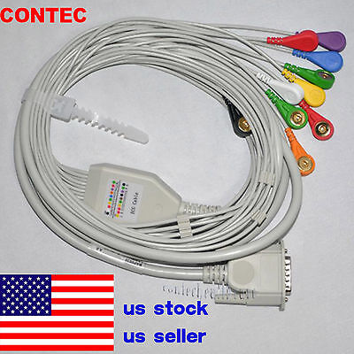 Us Snap Banana Type Ecg Ekg Machine Cable 12lead Wire Electrocardiograph Gilding