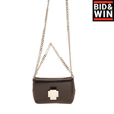 RRP €315 ORCIANI Leather Mini Flap Crossbody Bag Chain Strap HANDMADE in Italy
