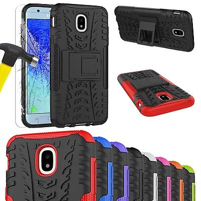 Heavy Duty Tough Shockproof Stand Case For SAMSUNG GALAXY J3/J5 2017 & Tempered