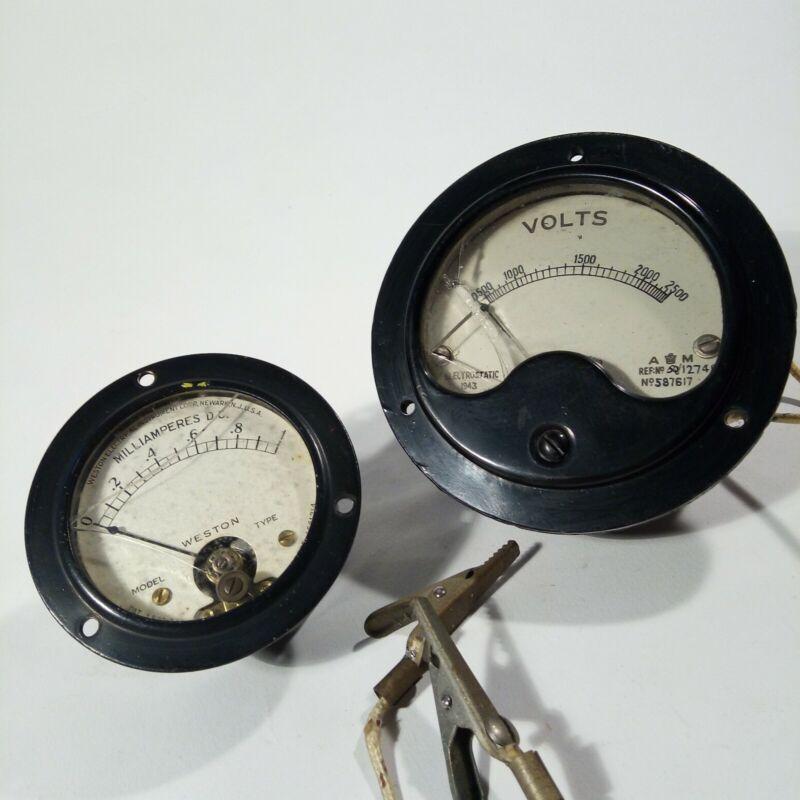 Weston Milliamperes Meter 506 & A M AM Volt Meter Guage 12749 587617