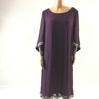 Up Trendy Womens Abaya Dress Embellished Scoop Neck Purple Size M Midi Kimono