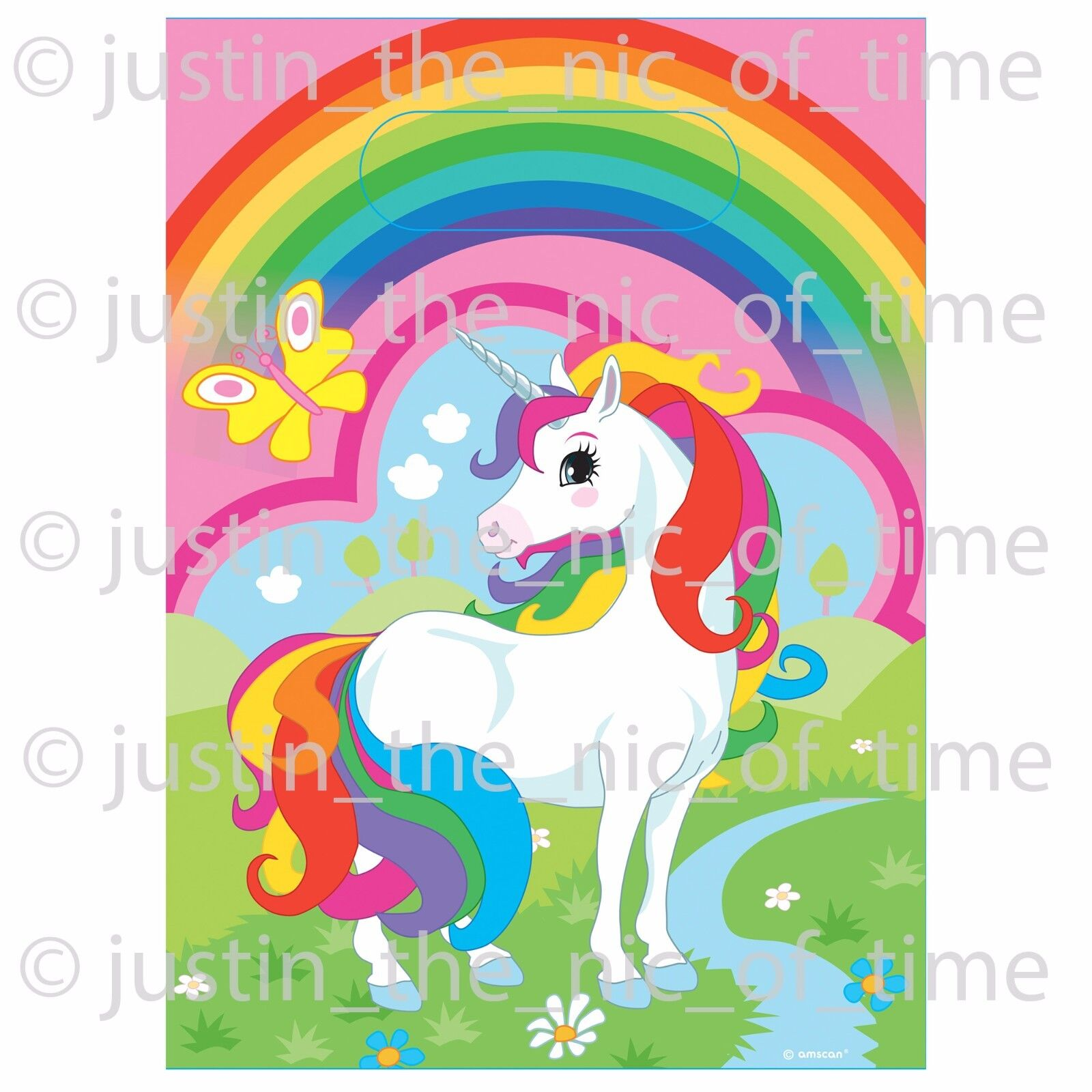 First Birthday Boy Party Loot Bag Single: UNICORN Rainbow Childrens Birthday Party Pink Loot Bags