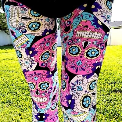 Halloween Leggings Womens (NWT Womens Sugar Skull Leggings Day Of The Dead Halloween Print Sizes OS &)