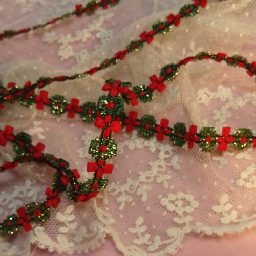 Antique rococo rosette flower ribbon trim red gold silver metallic accents vtg
