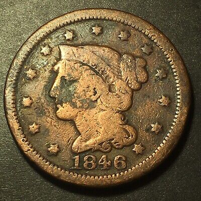 1846 Braided Hair 1c N-9 Large Cent Obsolete Collectible Type Coin