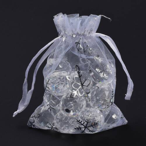 100Pcs Golden Snowflake Printed Organza Packing Bags For Christmas Day 12x10cm