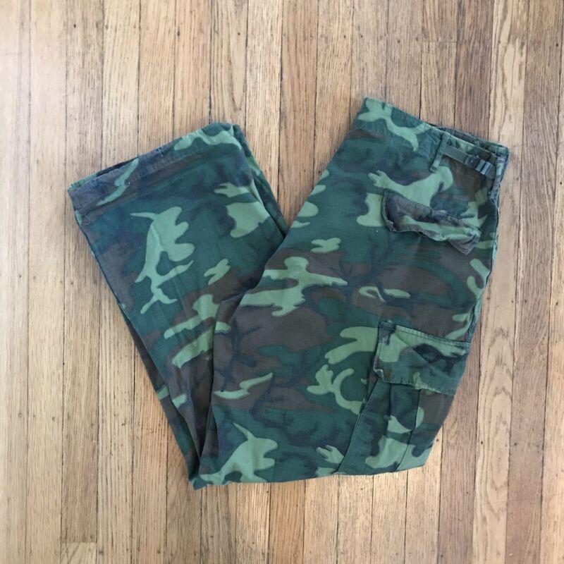 Vietnam War Cotton Ripstop ERDL Jungle Pants 60s Size Large Reg 38x30 Camo