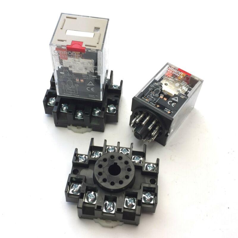 Lot of 2 Omron MKS3PIN-5 250VAC Single Phase Power Relay, 10A, 11-Pin w/ Socket