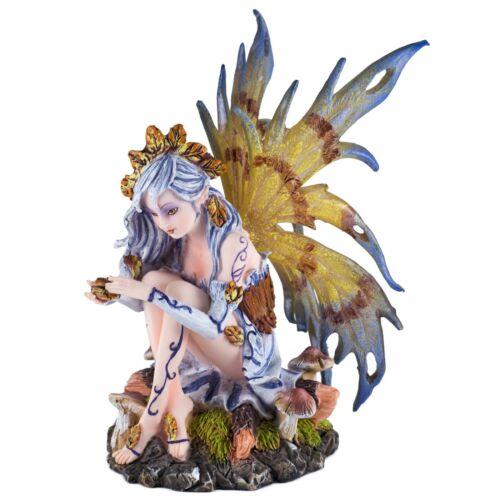 """Leaf Fairy With Mushrooms Figurine 6""""H Detailed Statue Resin New In Box!"""