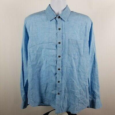Toscano Aqua Mens Blut Linen Dress Button Shirt Sz Large -