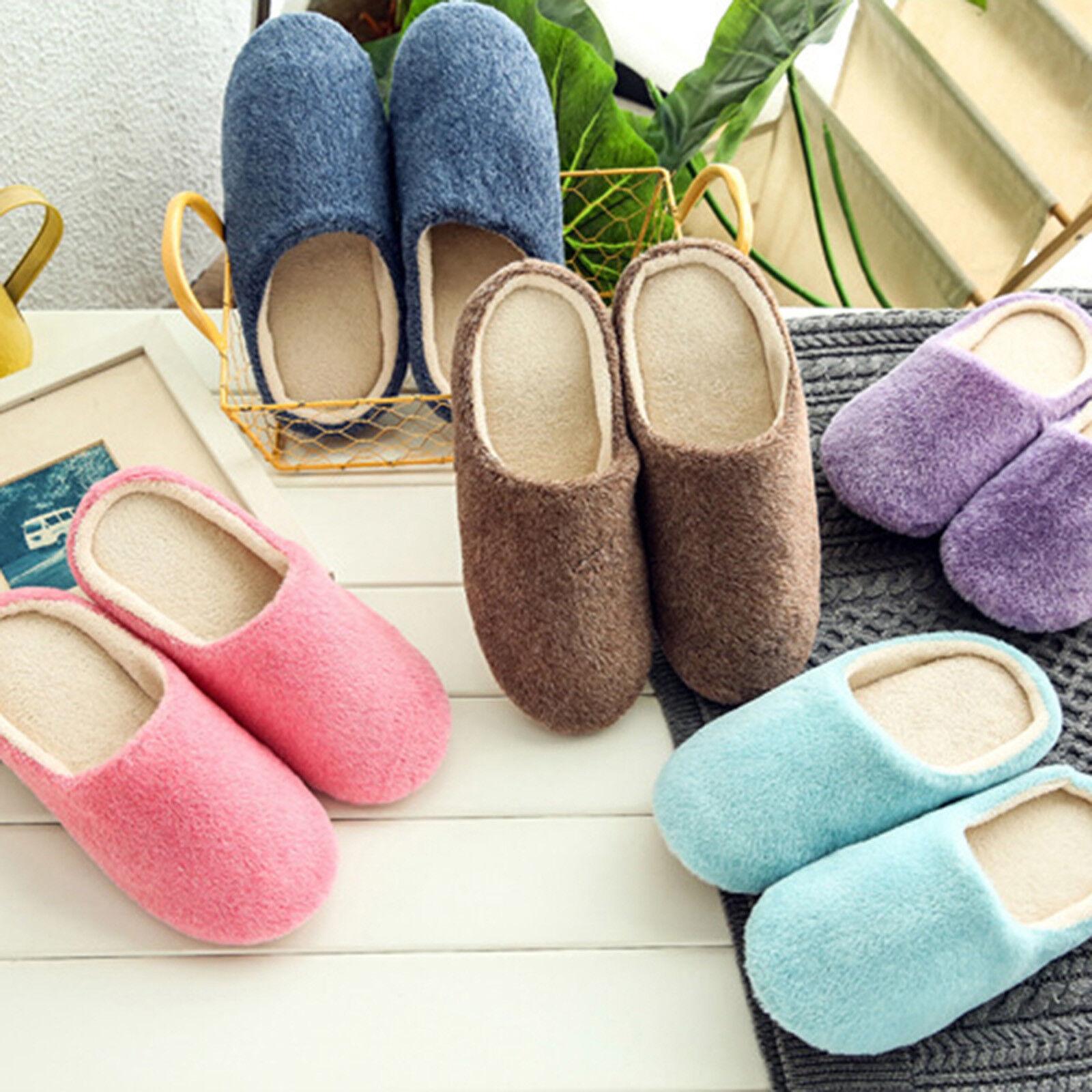US Womens Men Winter Warm Soft Plush Non Slip Sole Slippers Home Shoes Size OCCA 1